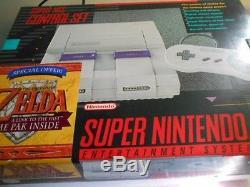 100% Brand New Super Nintendo SNES Console System Zelda Link To The Past Bundle