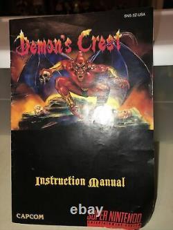Authentic Rare Capcom Demon's Crest Super Nintendo Snes Manual Only No Game/box