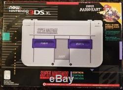 BRAND NEW SEALED Nintendo 3DS XL 4GB Gray Super NES Edition withSuper Mario Kart