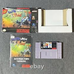 Earthworm Jim (Super Nintendo, SNES) Complete Video Game Box Manual