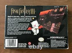 Final Fantasy III 3 (Super Nintendo SNES) Complete CIB with Map + Ads