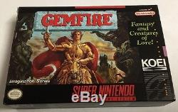 Gemfire (Super Nintendo SNES) CIB 100% Complete Near Mint Gem Fire KOEI