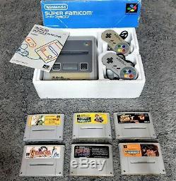 LOT Nintendo Super FAMICOM (SNES) JAP 2 Manettes en Boite + 6 Jeux NTSC-J