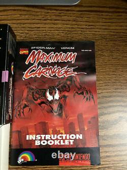 MAXIMUM CARNAGE Super Nintendo SNES 1994 ORIG BOX! MANUAL! See photos! Spiderman