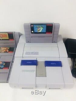 Original Super Nintendo SNES Console Bundle W 4 Games, Super Mario World, Zelda