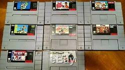 Original Super Nintendo SNES Console System Lot, 8 Games, 2 Controllers