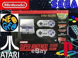 SNES Classic 12,000+ Games Modded PS1 Sega Super Nintendo Quick Reset NEO GEO