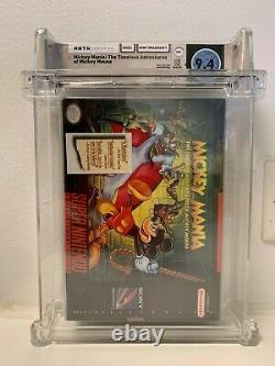 SNES Mickey Mania Mickey Mouse (Super Nintendo) WATA 9.4 A+ Sealed SWITCH N64