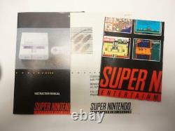SNES Super Nintendo Video Game System Bundle with 2 Controllers & 4 Games WORKS