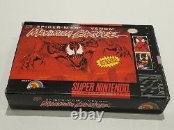 Spiderman Venom Maximum Carnage (Super Nintendo SNES) Cart, Box, Inserts, Poster