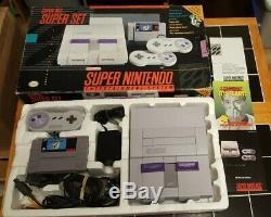 Super Nintendo Console SNES Mario World Set In Box Great Condition! View Pics