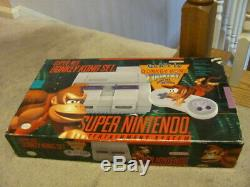 Super Nintendo SNES Console Complete in Box with Donkey Kong Country Very Rare