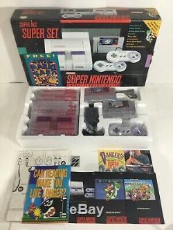 Super Nintendo SNES Console System CIB 100% Complete + Mario Kart + World Nice