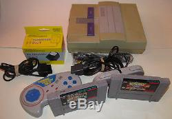 Super Nintendo SNES Console System Mario All Stars & 2 Controllers Games Bundle