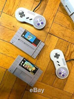 Super Nintendo SNES Console with OEM Controllers + Mario World & Mario Kart Bundle