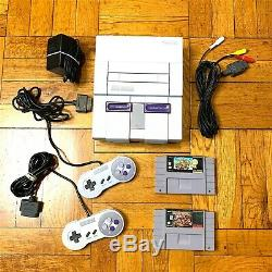 Super Nintendo SNES Console with OEM Controllers + with Mario Kart & Donkey Kong