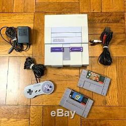 Super Nintendo SNES Original Console OEM System Set with Mario World & Donkey Kong