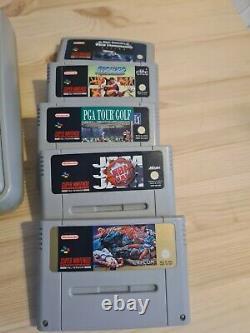 Super Nintendo SNES Retro Vintage Console Bundle With 5 Games