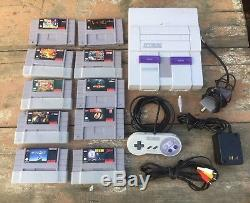Super Nintendo SNES System Console Bundle + 10 Games