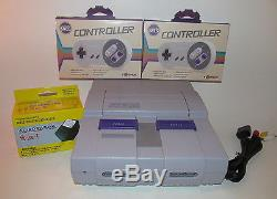Super Nintendo SNES System Console Bundle with New Controllers & Hookups