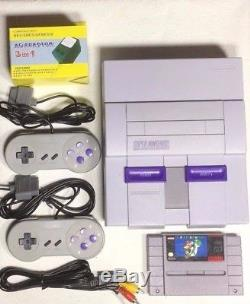 Super Nintendo SNES System /w Mario World + 2 Controllers & Cables Snes Console