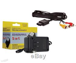 Super Nintendo System AV Cable & AC Power Supply Cord SNES Hookups Cable NEW