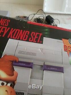 Super Nintendo System SNES Console Donkey Kong Country Set Box dk cib