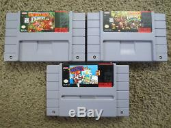 Super Nintendo System with Donkey Kong Country 1+2+Mario P bundle lot snes console