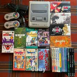 Super Nintendo game console bundle +2 controllers +11 games +Strategy guide SNES