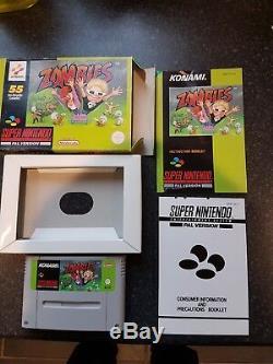 Super nintendo SNES ZOMBIES (PAL) konami 1993 boxed/complete UKV nice & RARE