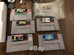 Super nintendo System Original Console 2 Controllers Bundle + 6 Games SNES