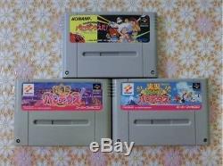 USED SNES SFC Super Famicom set of 3 Parodius Gokujyou Jikkyou Parodius da Japan