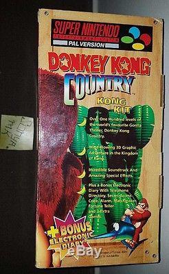 Ultra Rare Snes Big Box Donkey Kong Dk Diary Super Nintendo Pal