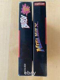 2 Boîtes Mega Man X Bubsy Snes Près De La Menthe Sammlung Lot Super Nintendo Boxes Seulement