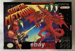 Boîte Mint/nm! Super Metroid Snes Super Nintendo Complete Cib Très Rare
