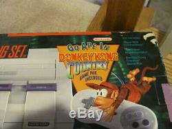 Console Super Nintendo Snes Complète Dans La Boîte Avec Donkey Kong Country Très Rare