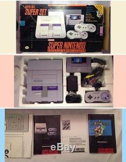 Console Super Nintendo Snes Console D'origine Super Mario World Complete + Rare