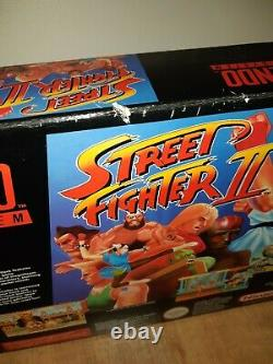 Console Super Nintendo Snes En Boîte Avec Super Street Fighter 2 Jeu De Travail