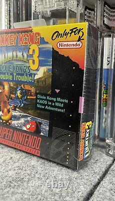 Donkey Kong Pays 3 Super Nintendo Snes Usine Scelled Wata No Vga New Mint