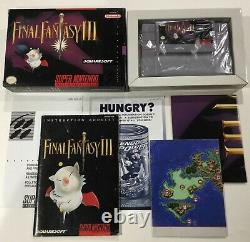 Final Fantasy III 3 Super Nintendo Snes Cib Boîte Complète Manuelle Carte Affiche Nice