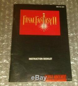 Final Fantasy II 2 Complete Snes Super Nintendo Cib Avec L'affiche, Box, Manuel