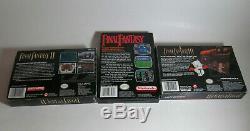 Final Fantasy Rêve Lot 1 2 3 I II III Complète Cib Super Nintendo Snes Et Nes Vg