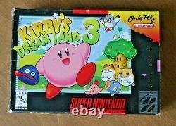 Kirby's Dream Land 3 Super Nintendo Entertainment System (snes) Box & Manual Seulement