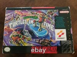 Mutant Adolescent Tortues Ninja Dans Le Temps Snes Super Nintendo Complet Dans La Boîte Rare
