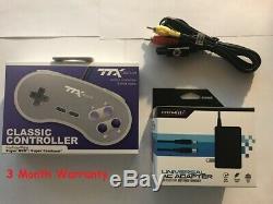 Nouveau Adaptateur Secteur Cordon D'alimentation + Av Câbles Vidéo + Controller Pour Super Nintendo Snes