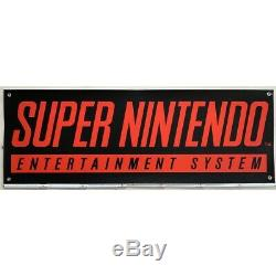 Original Super Nintendo Snes Werbung Reklame Bannière Werbebanner 148x48cm Rar