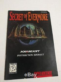 Secret De Evermore (super Nintendo Snes, 1995) Avec L'affiche Complète Carte Bon H