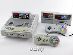 Snes / Super Nintendo Konsole + Mario Spiel, Original Contrôleur, Strom & Kabel