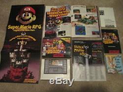 Super Mario Rpg (super Nintendo Snes) Cib Complète Avec L'affiche + Magazine + Annonce