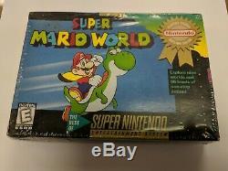 Super Mario World (nintendo Snes, 1992) Usine Rare Scellé Neuf Hang Tab